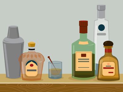 Bar liquor diageo drink adobe illustration vector ciroc jameson whiskey crown royal bar