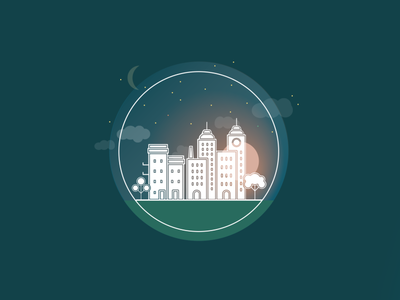 City at night moon star night city illustration gradient cityscape city icon design illustrator vector illustration