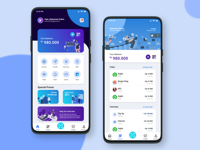 E-Wallet money indonesia ebanking banking uiux ui animation design topup kfc burger king gojek mobile design mobile mobile app illustraion wallet e-wallet ewallet figma