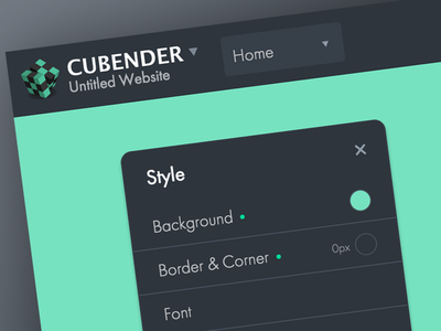 Style Menu for Cubender V5 dark ui flat draggable web app ux modal popup menu