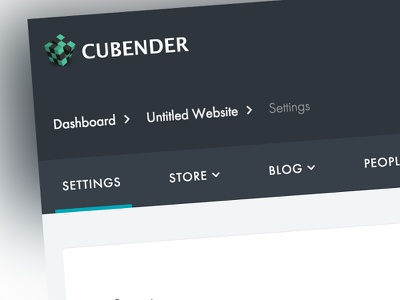 Cubender Dashboard links horizontal menu ux ui navigation menu dashboard