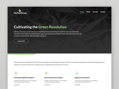 Herban Group green black landing page responsive business clean website