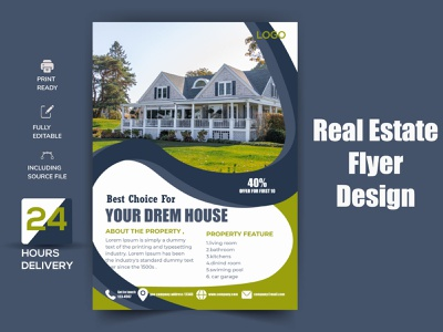 Real Estate Flyer residential realtor real estate loan lease leaflet house home flyer corporate company commercial business flyer business broker agent agency advertising advertisement