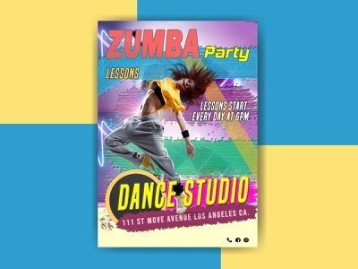 Zumba / Fitness Flyer two-tone poster two-tone flyer sports sport poster music flyer floor fitness event dancing dancers dancer dance poster dance flyer dance floor classy classic brown