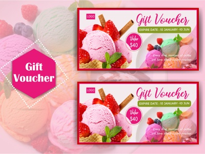 Ice-Cream Gift Voucher yoga voucher travel voucher therapy voucher sports voucher spa voucher shopping voucher salon voucher voucher template voucher discount simple restaurant voucher restaurant modern ice-cream voucher gift card template gift card gift elegant discount clean