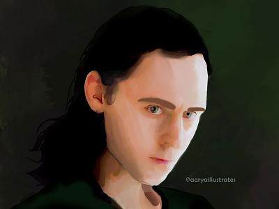Loki Fanart | Portrait Painting of Tom Hiddleston painting digital painting illustration fanart digitalpainting marvel loki