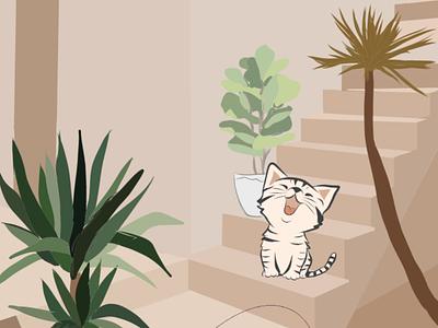 Cat minimal vector illustration editorial digital illustration cats