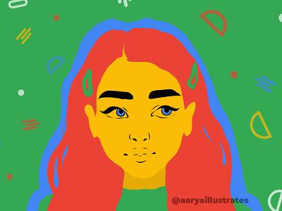 Women Illustration Series | Green vector art design adobe draw painting illustration