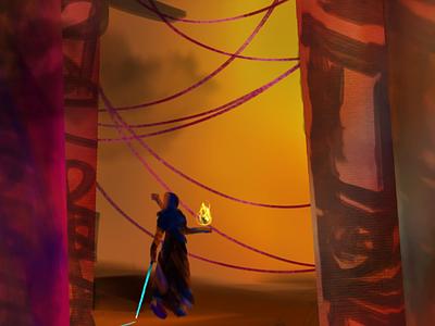 Fire painting character design vis dev concept art digital painting illustration