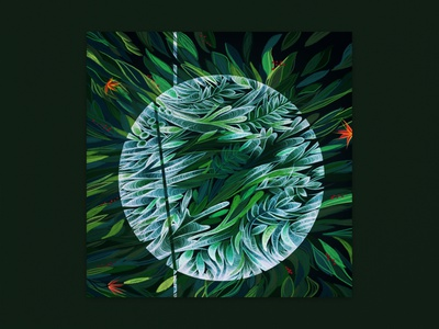 Polygonia - Leaves and Ghosts [IO:013] ghost leaves digital illustration photoshop drawing painting digital cover artwork cover art cover plants music