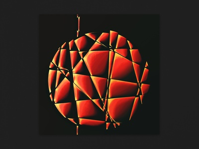 Delusional Circuits - For the Addicted Mind [IO:018] glass yellow red contrast music cover art cover artwork illustration 3d
