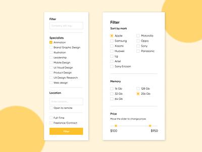 Filter Page web dizayn filter page e-commerce web design ux ui