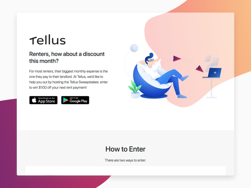 Landing Page - Sweepstakes Website by Blake Manzo on Dribbble