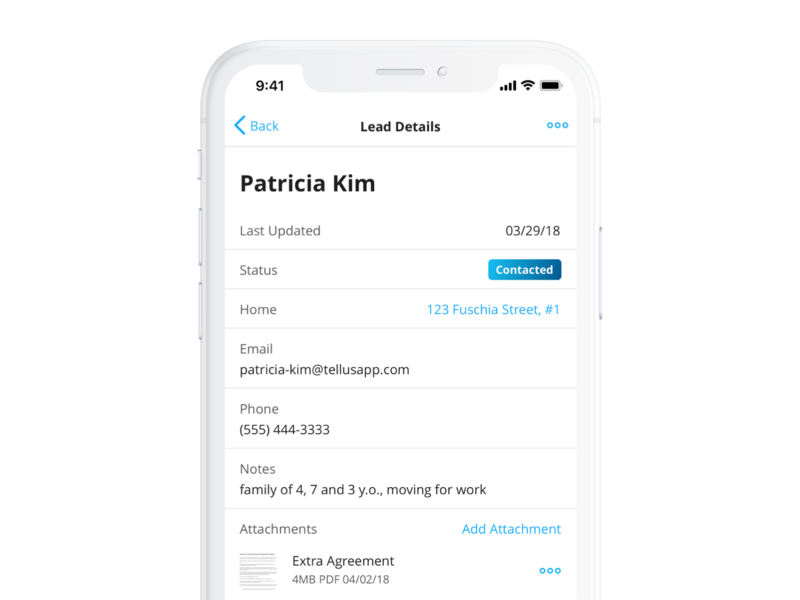 Lead Tracking ui app mobile iphone ios real estate interface design