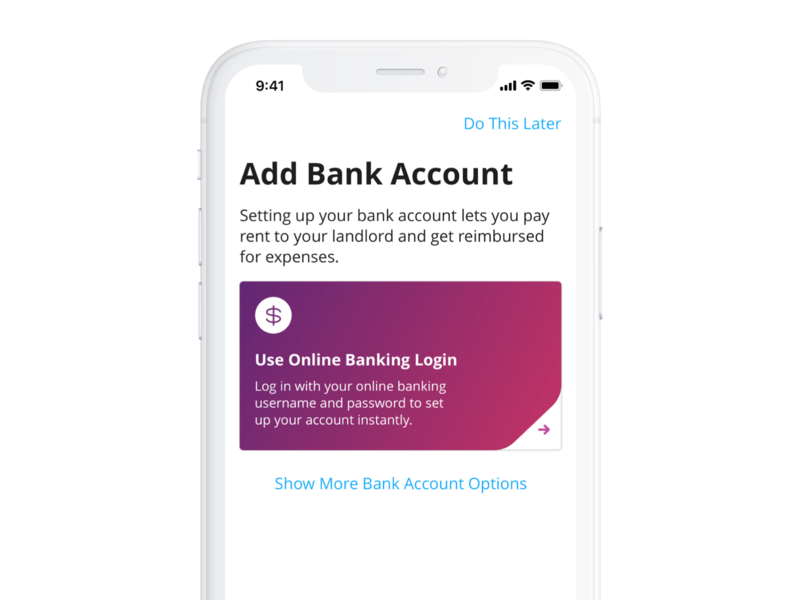 Add Bank Account purple color product interaction card ux bank finance app ui mobile iphone ios real estate interface design