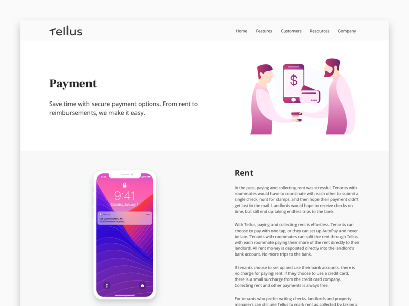Feature Page - Payment website web interaction product marketing collateral marketing app ui real estate interface design