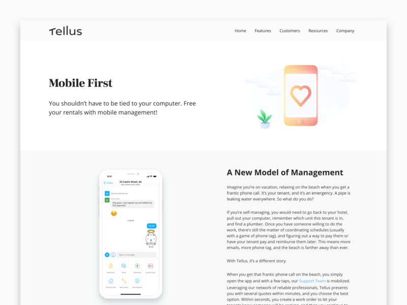 Feature Page - Mobile First