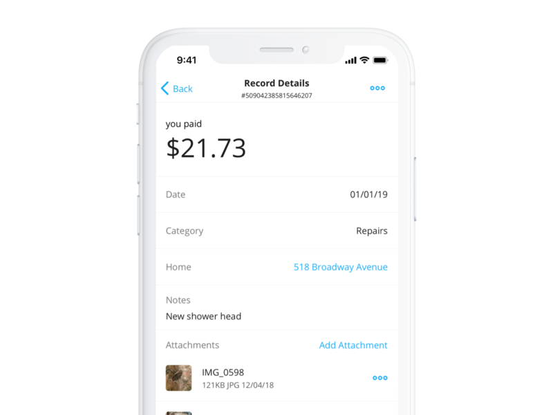 Expense Record Details expense finance ux product interaction mobile iphone ios app ui real estate interface design