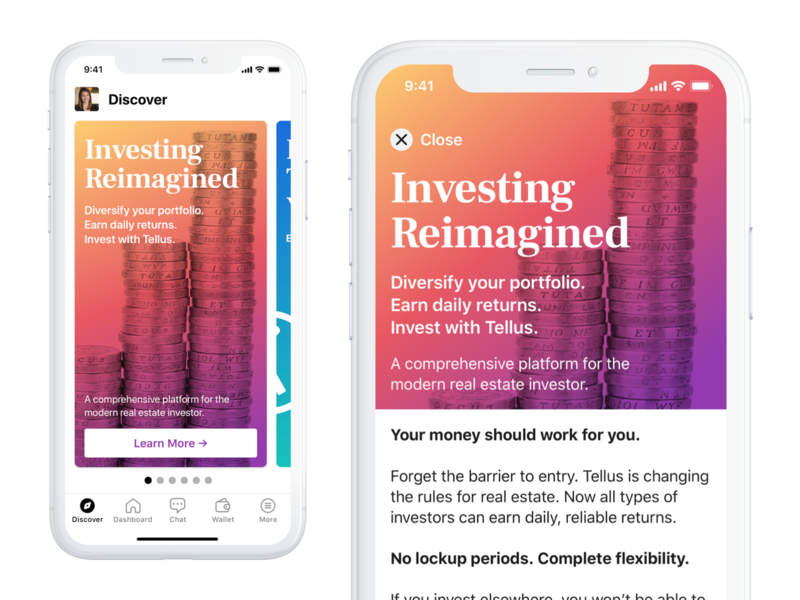 Discover Page - Investing Article gradient discover article card finance interaction product mobile iphone ios app ui real estate interface design
