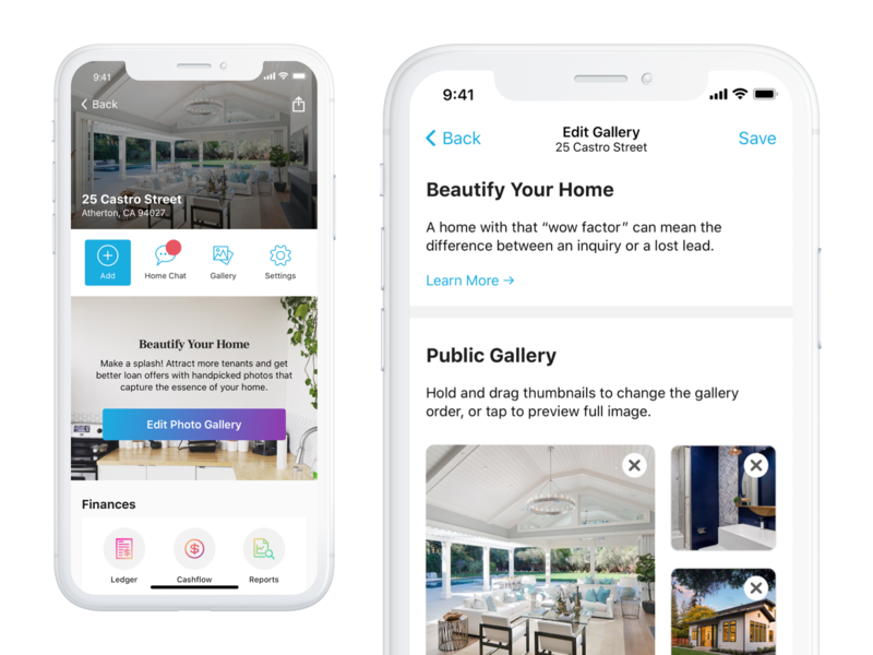 Home Profile - Edit Gallery design interface real estate ui app ios iphone mobile product interaction finance ux