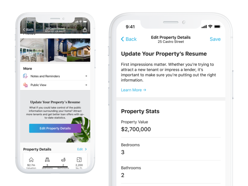 Home Profile - Edit Property Details ux finance interaction product iphone ios mobile app real estate ui interface design