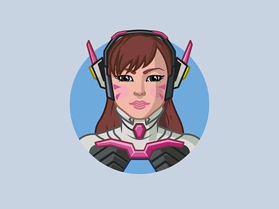 Overwatch - D.va dva overwatch gaming illustration minimalist vector 2d