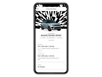 THE OUT - Car detail page automotive car rental ios app design mobile app ui design interaction ui product design