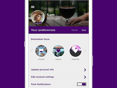 Daily Ui 007 Settings doubletap flat settings user profile travel app userinterface dailyui dailychallenge ux