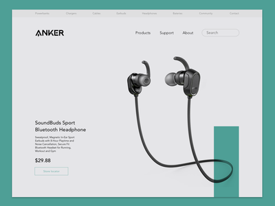 Anker product presentation minimalistic turquoise anker earbuds interface webdesign product page sketchapp