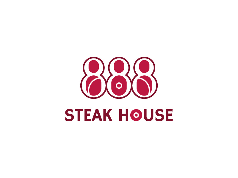888 Steak house - Concept 2 logo steak steakhouse restaurant flame typo