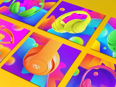 NCredible Audio Neon Collection collection neon headphones audio ncredible rendering modelling 3d