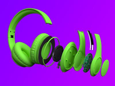 NCredible Audio Neon Headphone Deconstructions audio ncredible nick cannon deconstructed headphones neon modelling rendering 3d