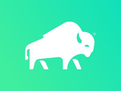 Bison Logo gradient geometric vector bison branding logo
