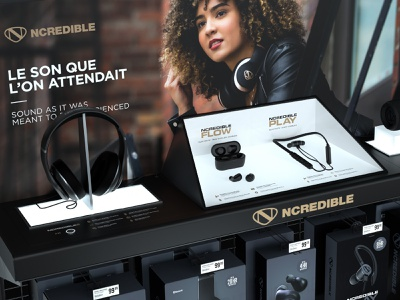 NCredible Audio In-Store Merchandising nick cannon ncredible display store headphones merchandising 3d