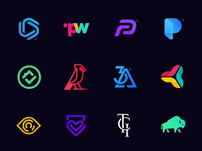 Various Logos insurance eye bird paper roof house heart gradient symbol logo branding