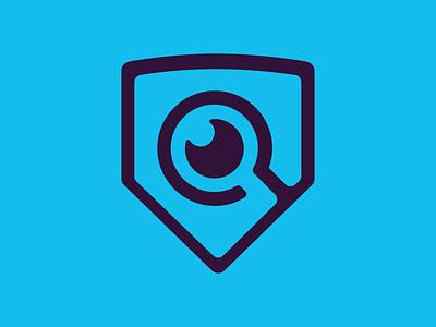 Mark from the cutting room floor shield spy eye eyeglass branding blue brand logo