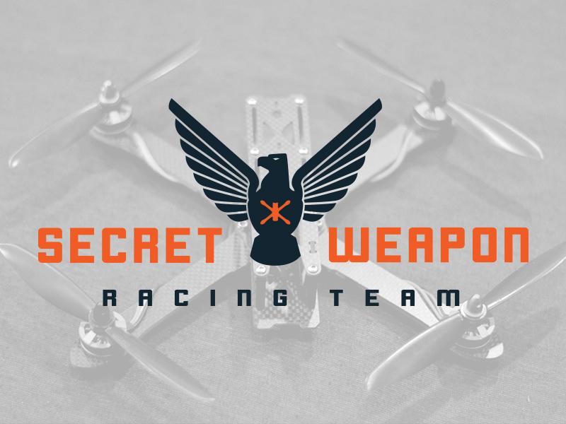 Secret Weapon Racing Team brand quadcopter drone eagle logo