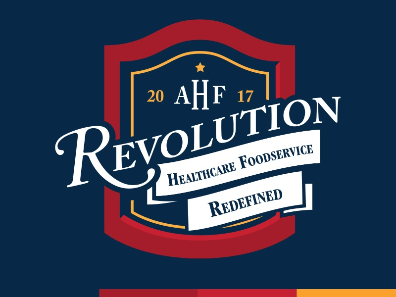 Association of Healthcare Foodservice Conference Logo red white and blue association non-profit conference revolutionary banner revolution logo