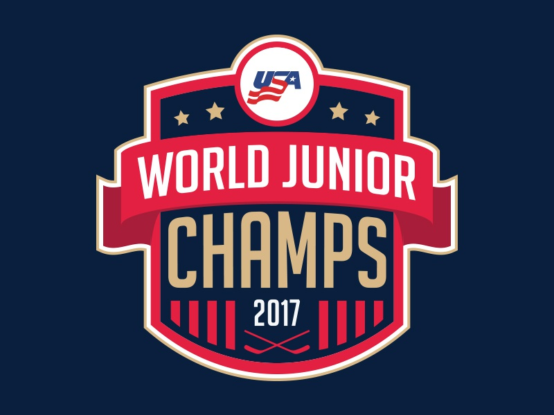 World Juniors Champs! champs usa logo sports shield hockey