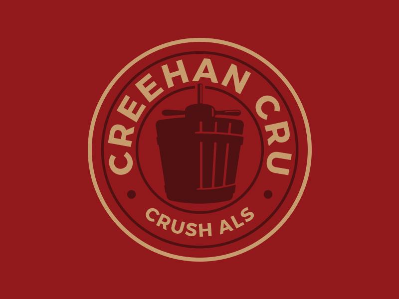 Creehan Cru circle roundel red gold press grapes wine logo als