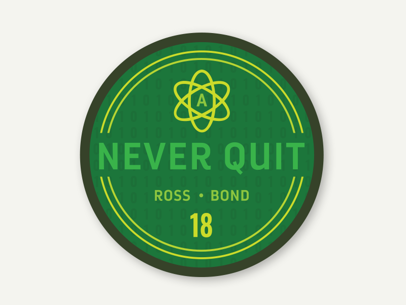Never Quit Project Patch mission mission patch green atom patch