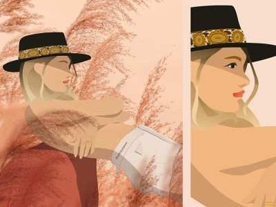 Woman Illustration Cowboy Hat pink woman portrait model illustration model artist angeliquevantveer angieyeahhh eyes adobe illustrator illustration woman western cowboy hat lackofcolor