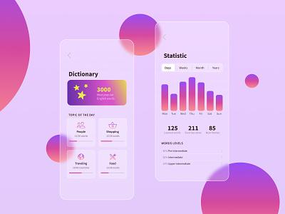 Glassmorphism icon minimal app ui design