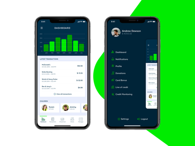GeNext App Interface chore money finance chart flat ios ui design kids parents green app ux ui