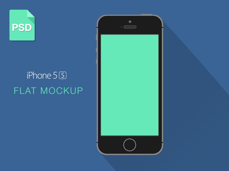 iPhone 5S Mockup clean iphone ios flat mockup psd freebie long shadow iphone 5s download minimal template