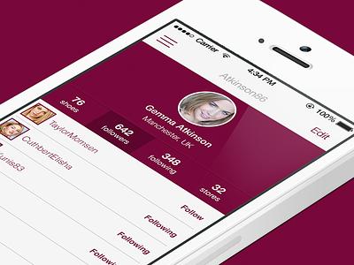 Profile App sexy purple app iphone girl flat profile menu model store fashion shoe