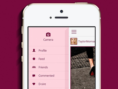 Menu Shoes Dsire - App iOS menu shoes app pink ios iphone social ux ui share fashion purple