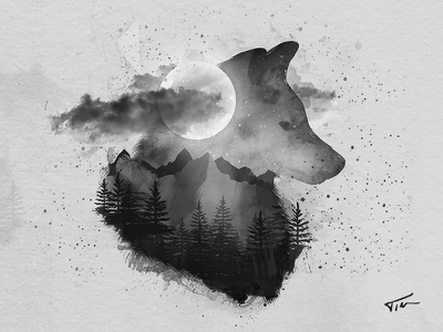 A Tale Of The Wolf And The Moon black and white forest moon night wolf painting art logo watercolor illustration