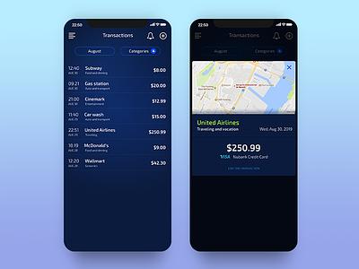 Bluejay - Transactions ios iphone finance app gradient popup modal list transactions