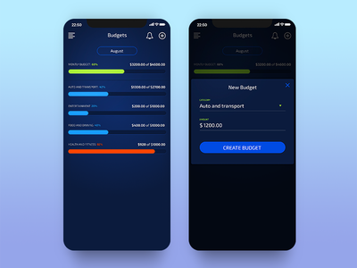 Bluejay - Budget stats budget modal dashboard chart iphone ios app finance